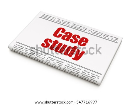Education concept: newspaper headline Case Study on White background, 3d render - stock photo