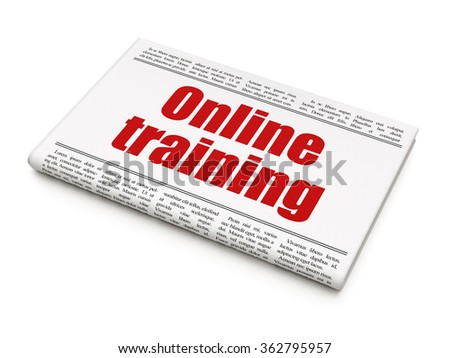 Education concept: newspaper headline Online Training - stock photo
