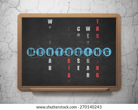 Education concept: Painted blue word Mentoring in solving Crossword Puzzle on School Board background, 3d render - stock photo