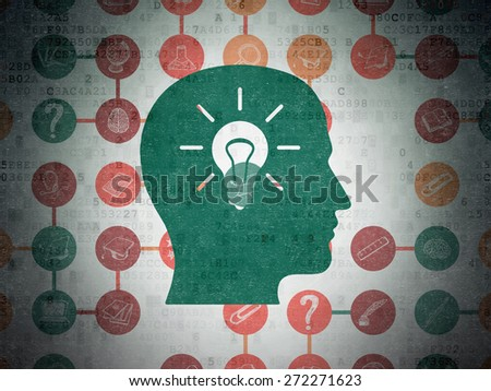 Education concept: Painted green Head With Light Bulb icon on Digital Paper background with Scheme Of Hand Drawn Education Icons, 3d render - stock photo