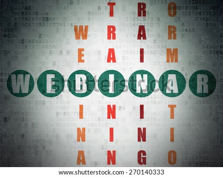 Education concept: Painted green word Webinar in solving Crossword Puzzle on Digital Paper background, 3d render - stock photo