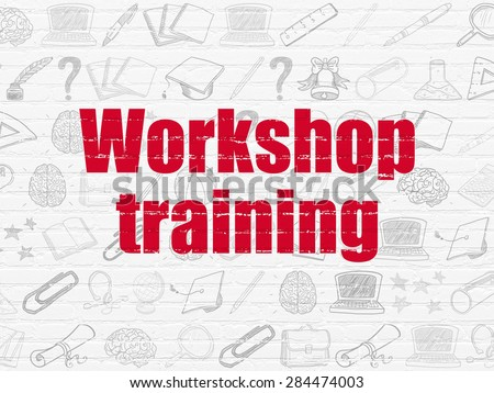Education concept: Painted red text Workshop Training on White Brick wall background with  Hand Drawn Education Icons, 3d render - stock photo