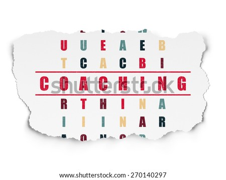 Education concept: Painted red word Coaching in solving Crossword Puzzle on Torn Paper background, 3d render - stock photo