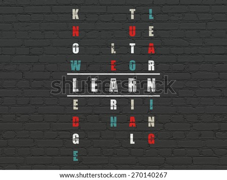 Education concept: Painted white word Learn in solving Crossword Puzzle, 3d render - stock photo
