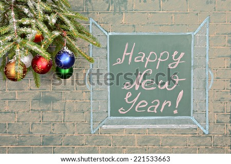Education concept. Perspectives for the future. Christmas decorations and chalkboard with title: Happy New Year! - stock photo