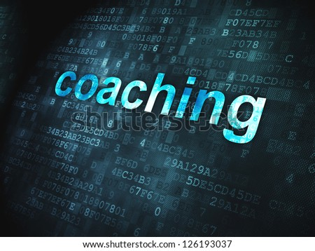 Education concept: pixelated words Coaching on digital background, 3d render - stock photo