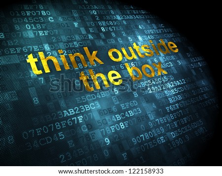 Education concept: pixelated words think outside the box on digital background, 3d render - stock photo