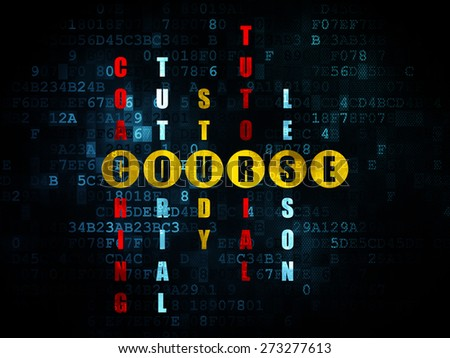 Education concept: Pixelated yellow word Course in solving Crossword Puzzle on Digital background, 3d render - stock photo