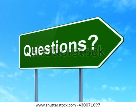 Education concept: Questions? on green road highway sign, clear blue sky background, 3D rendering - stock photo