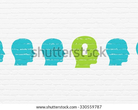 Education concept: row of Painted blue head icons around green head with keyhole icon on White Brick wall background - stock photo