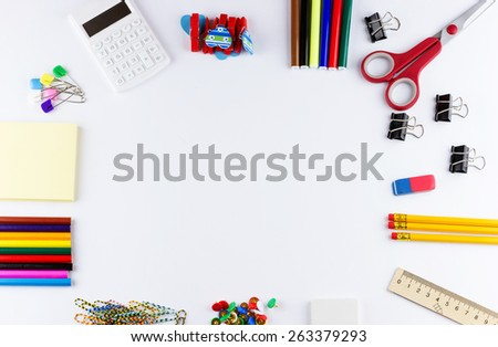 Education concept. Top view of school and office supplies on white background with place for your text - stock photo