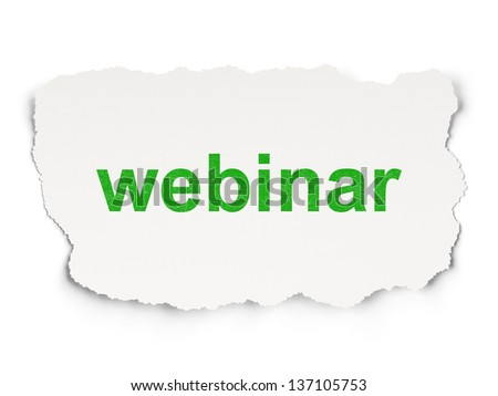 Education concept: torn paper with words Webinar on Paper background, 3d render - stock photo