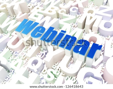 Education concept: Webinar on alphabet  background, 3d render - stock photo