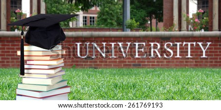 education concept with book in the front of university - stock photo