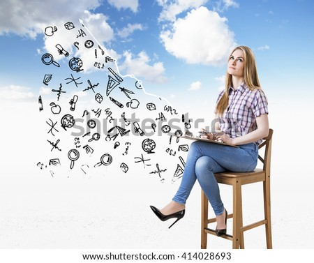 Education concept with caucasian woman sitting on chair in the sky with education related sketches - stock photo
