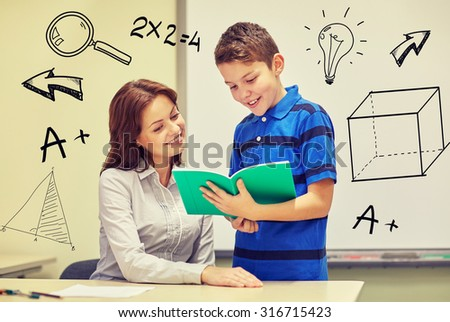 education, elementary school, learning, examination and people concept - school boy holding notebook and teacher in classroom with doodles - stock photo