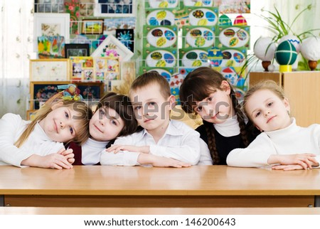 Education. Elementary school students in a classroom. School concept - stock photo