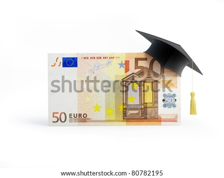 Education euro Business School on a white background - stock photo