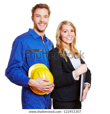 Education for different occupations and jobs with worker and business woman - stock photo