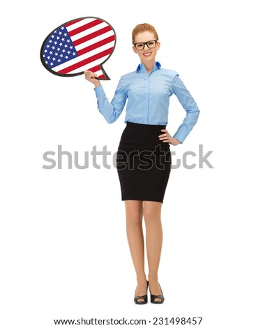 education, foreign language, english, people and communication concept - smiling woman holding text bubble of american flag - stock photo