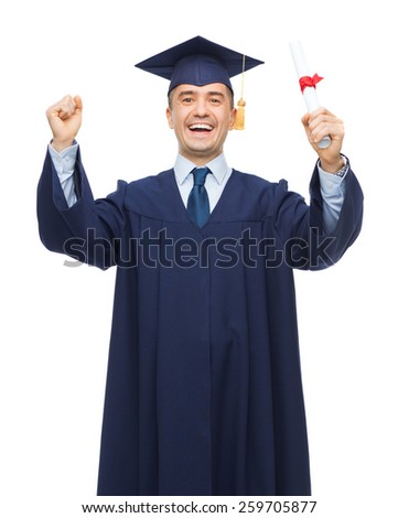 education, graduation and people concept - smiling adult student in mortarboard with diploma rising hands up and laughing - stock photo