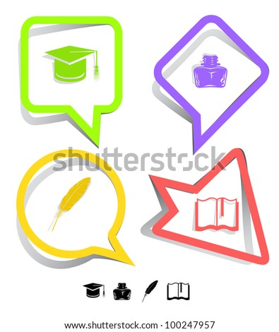 Education icon set. Graduation cap, book, inkstand, feather. Paper stickers. Raster illustration. - stock photo