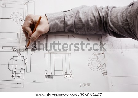 education industrial drawing - stock photo
