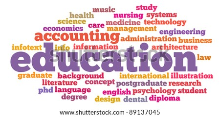 education info-text graphics and arrangement concept on white background (word clouds) - stock photo