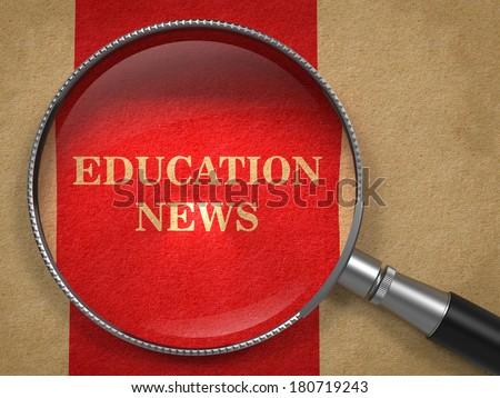 Education News concept. Magnifying Glass on Old Paper with Red Vertical Line Background. - stock photo