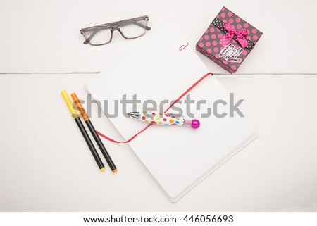 Education objects on white background - stock photo