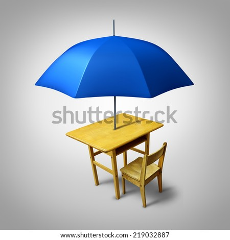 Education protection and teaching shelter for literacy and learning as a generic school desk with an umbrella as a symbol for protecting and providing security to students. - stock photo