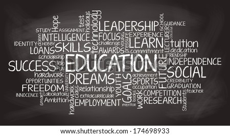 Education related tag cloud illustration - stock photo