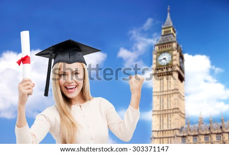 education, school, knowledge, graduation and people concept - happy student girl or woman in trencher cap with diploma certificate over big ben tower in london background - stock photo