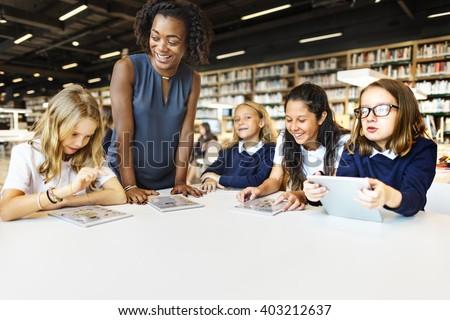 Education School Teacher Student Digital Tablet Technology Concept - stock photo