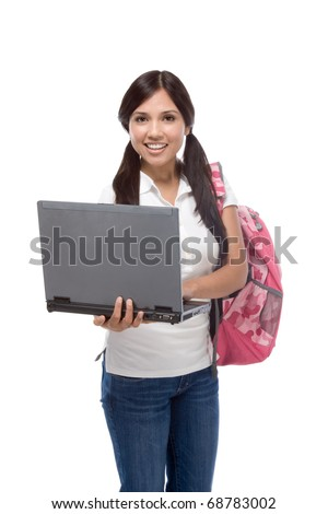 education series - Friendly ethnic Latina woman high school student with portable computer - stock photo