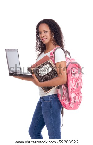education series template - Friendly ethnic black woman high school student with portable computer - stock photo