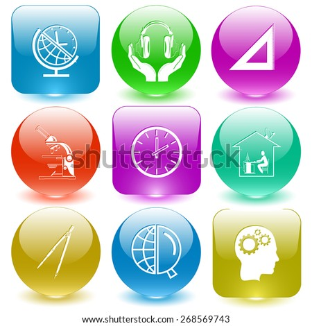 Education set. Raster set glass buttons. - stock photo