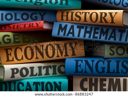 education study books with text learning building knowledge at school - stock photo