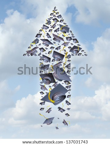 Education success as a group of graduation hats thrown up to the sky as an upward arrow on a career launch for a traditional hat toss at graduate university and college as a concept of opportunity. - stock photo