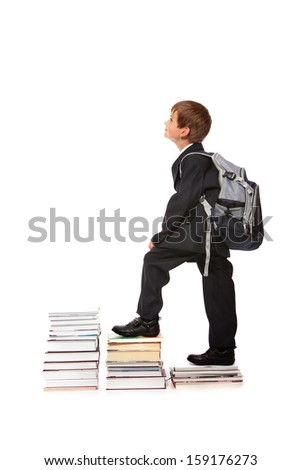 Education success graph - successful schoolboy isolated on white background - stock photo