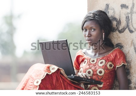 Education Symbol: African Black Woman Girl Studying Learning Business - stock photo