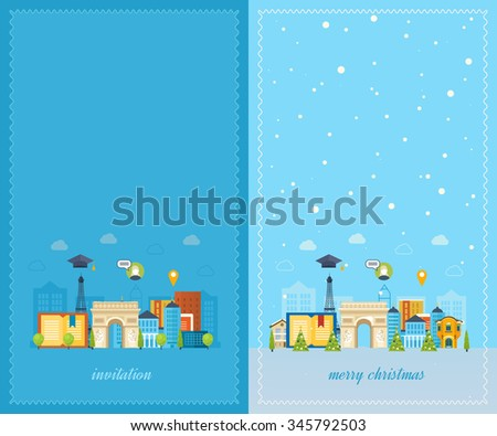 Education to France. Cute invitation card with winter city life. Merry Christmas greeting card design. Paris Christmas winter.  City in the winter. Winter season. Urban landscape - stock photo