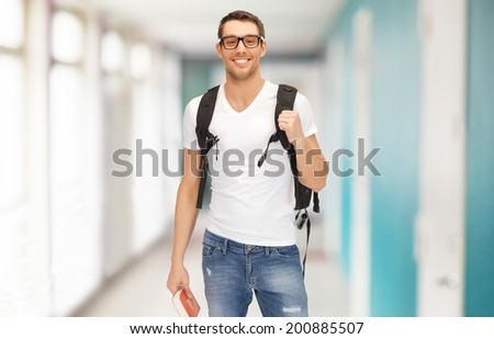 education, travel and vacation concept - smiling student in eyeglasses with backpack and book - stock photo