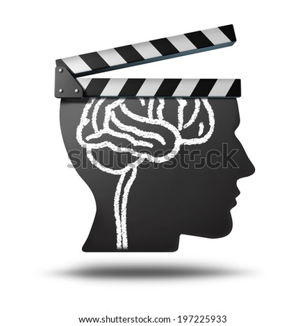 Education videos and learning online as a tool for educating and teaching new skills in entertainment media movies as documentaries biography or history clips on the internet or at a theatre cinema. - stock photo