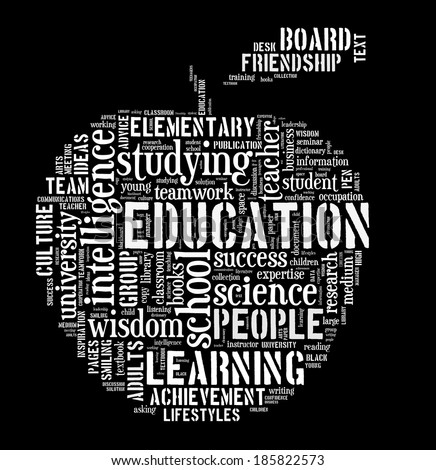 Education word cloud apple shape concept image - stock photo