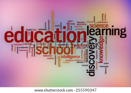 Education word cloud concept with abstract background - stock photo