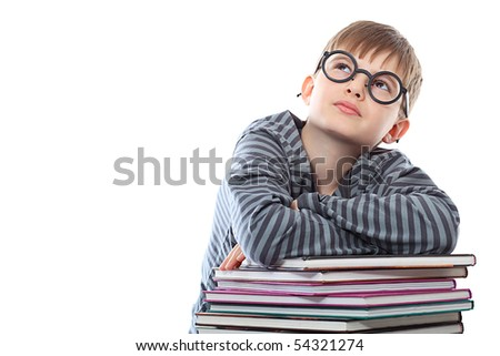 Educational theme: funny teenager with books. Isolated over white background. - stock photo