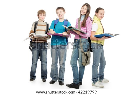 Educational theme: group of emotional teenagers standing together. - stock photo