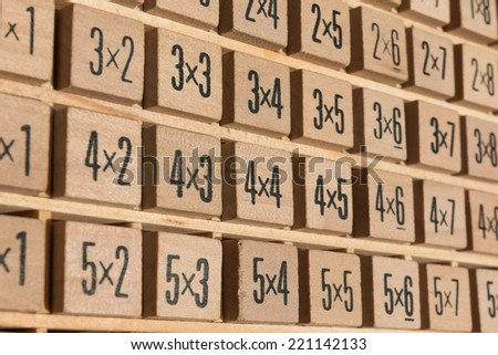 Educational wooden multiplication table - stock photo