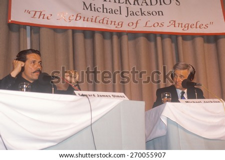 Edward James Olmos and radio host Michael Jackson during conference, South Central Los Angeles, California - stock photo